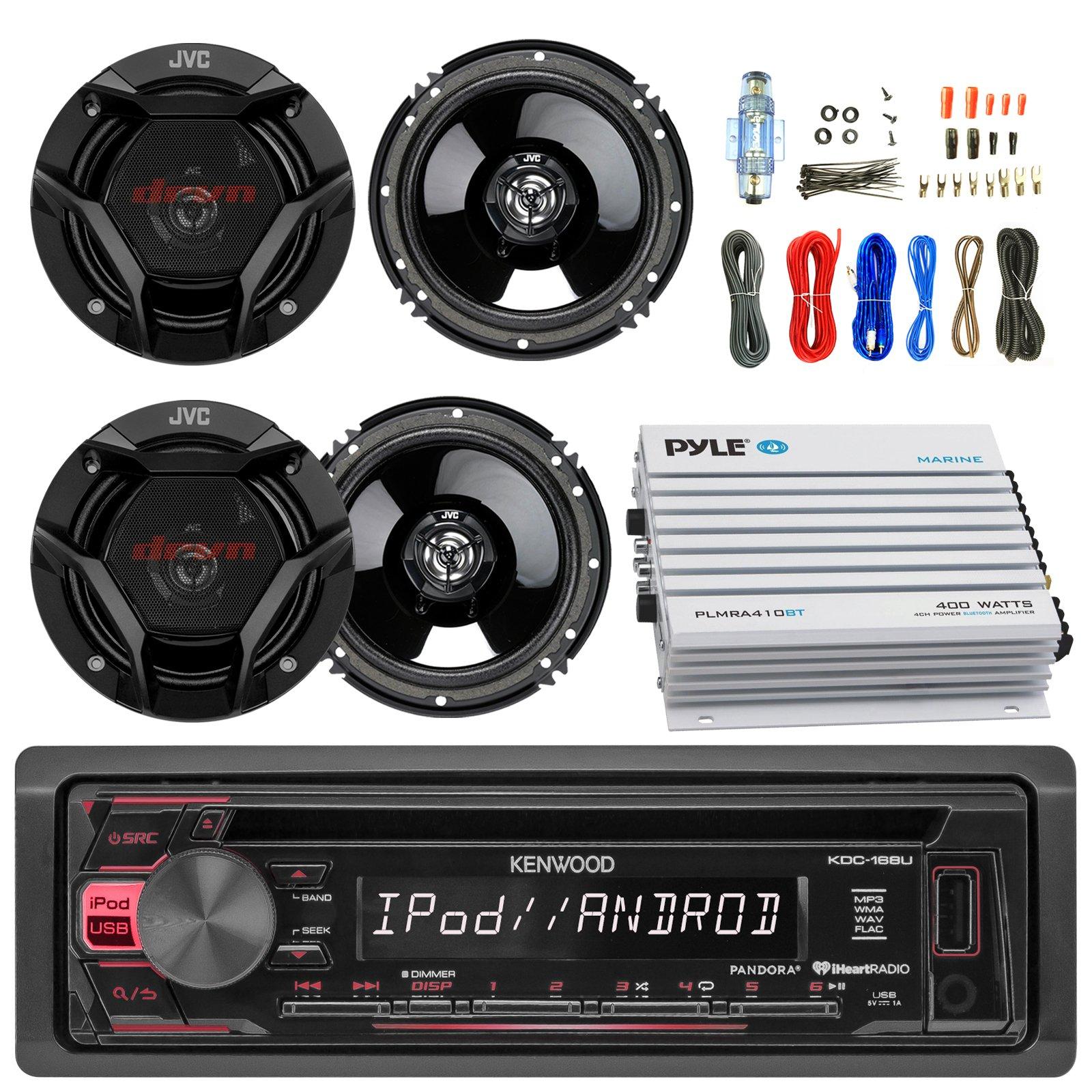 Kenwood KDC168U Car CD Player Receiver USB AUX Radio - Bundle Combo With 4x JVC CSDR620 6.5'' Inch 300-Watt 2-Way Black Audio Coaxial Speakers + + 4-Channel Amplifier + Amp Kit