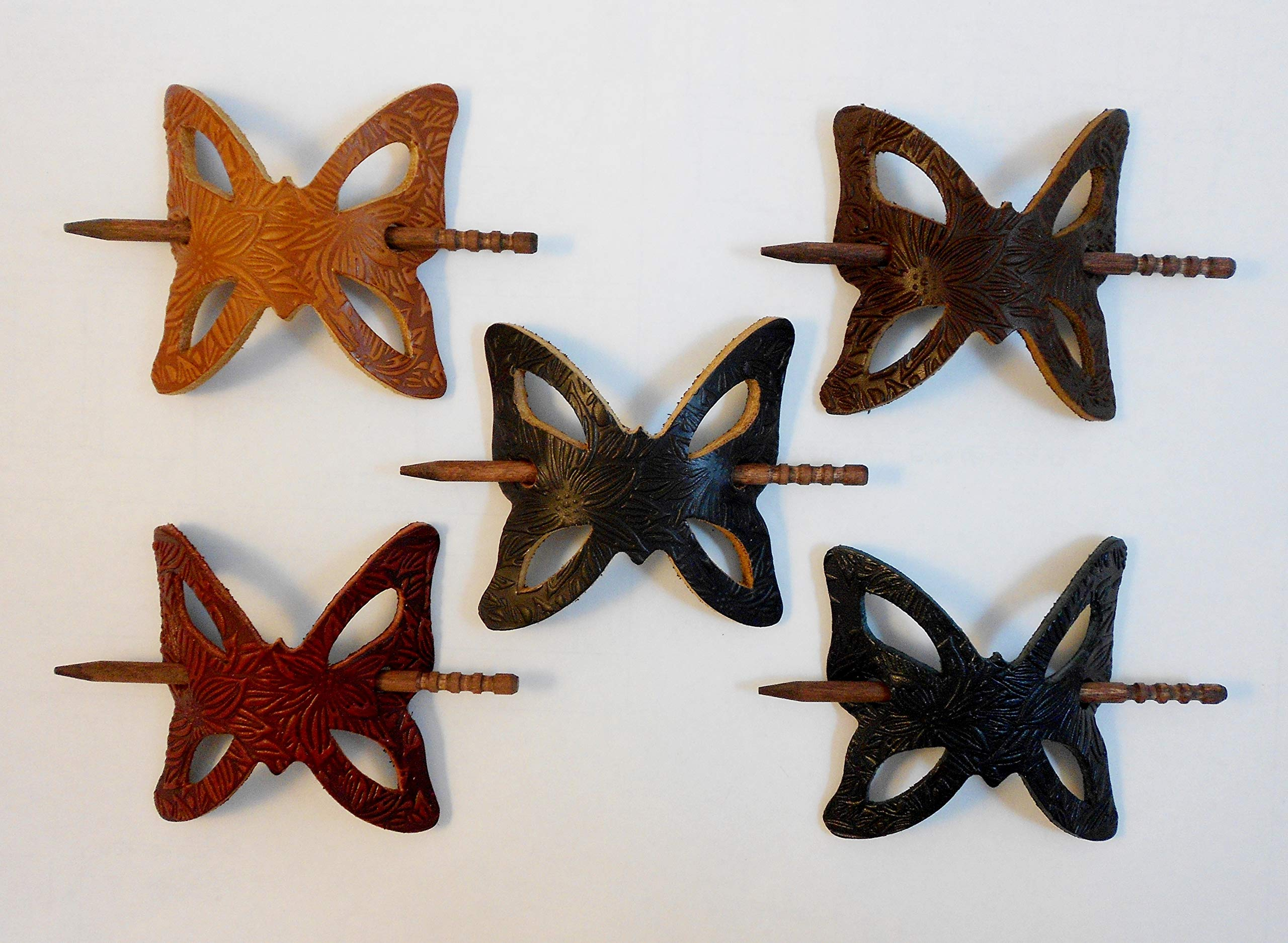 2 Tooled Leather Butterfly Hair Barrettes w Sticks, Ponytail Holders, Floral Design, Choice of Colors