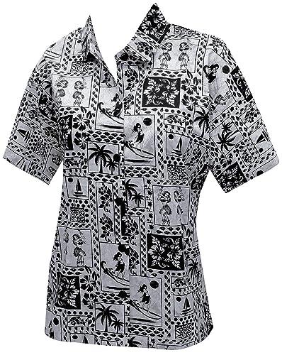 Palmera Hawaiano Camisas Impresas Blusas para Mujer de Manga Corta Negro Florales