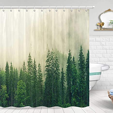 Amazon Com Rustic Nature Forest Shower Curtain Misty Forest Nature Woodland Fantasy Fog Magic Pine Tree Shower Curtain Polyester Fabric Waterproof Shower Curtain 70x70 In Shower Curtains Hooks Included Kitchen Dining