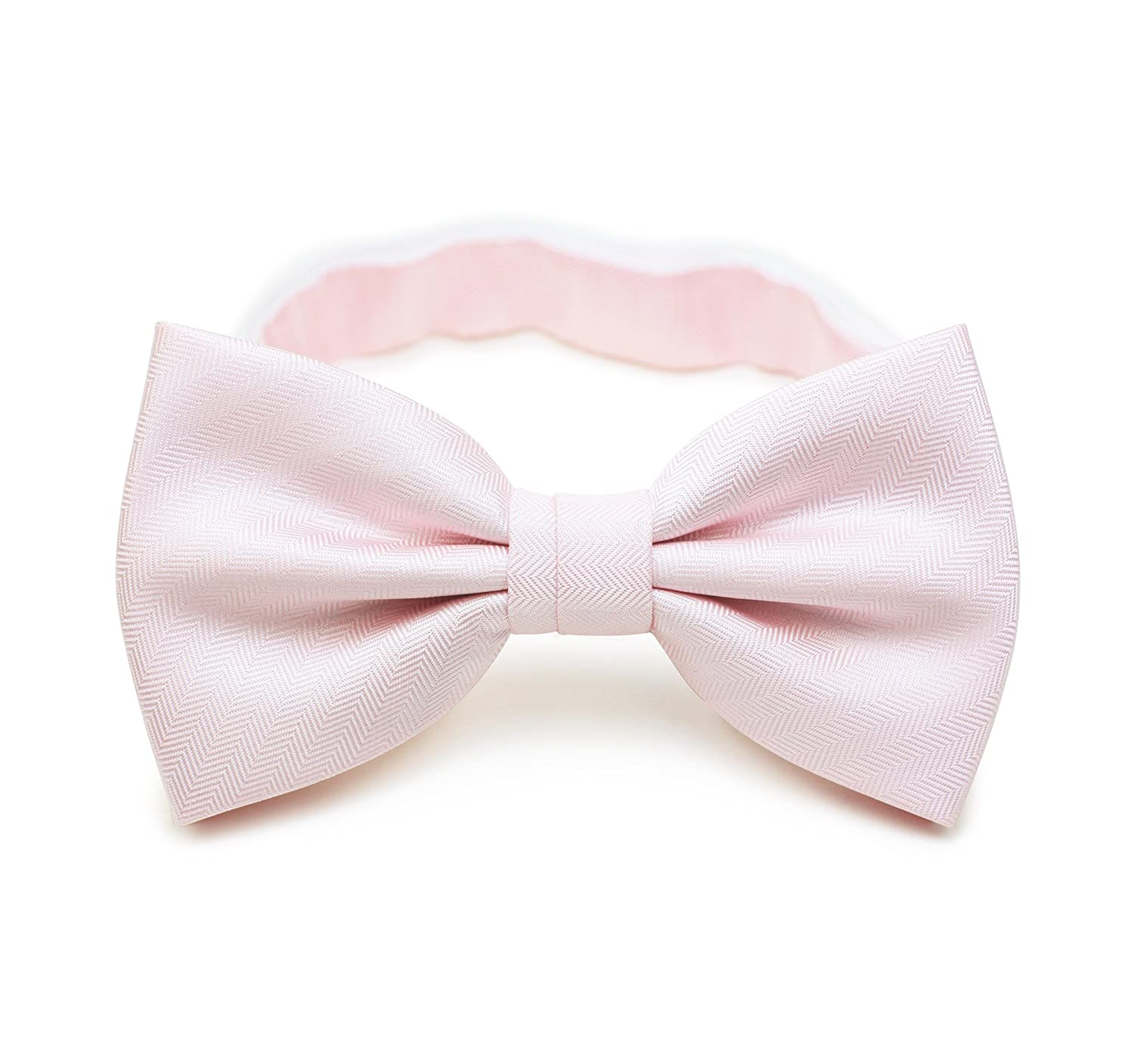 Bows-N-Ties Mens Solid Pre-Tied Bow Tie and Pocket Square Set Matte Herringbone Finish CS1100F+T