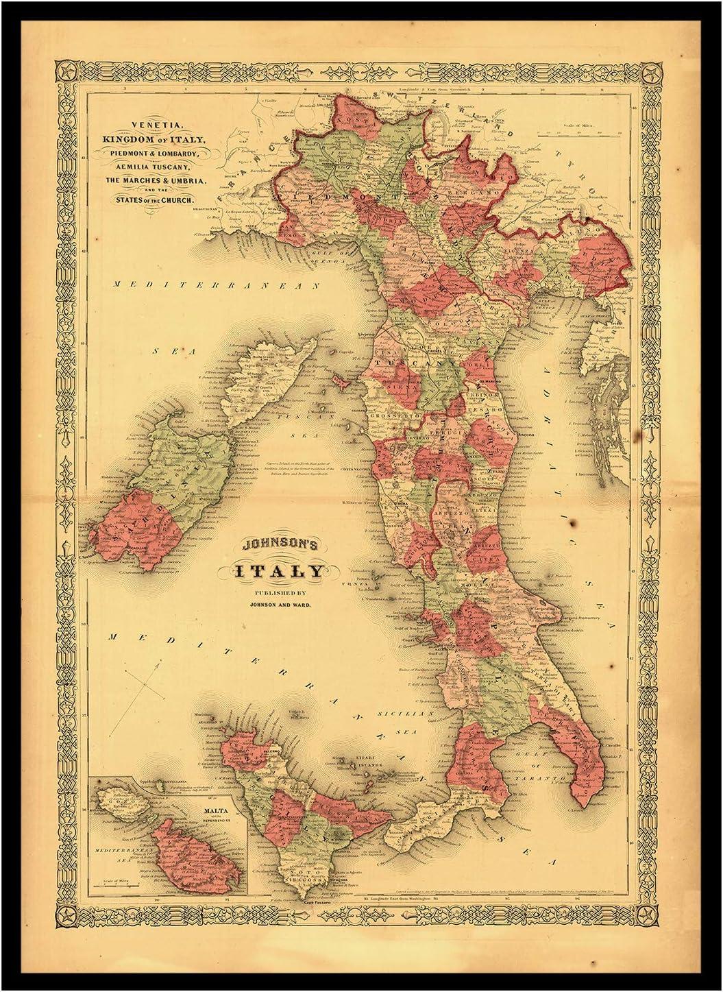 mapa plegado Old Maps Library Mapa de reproducci/ón vintage de Italia 1864 con reverso de lino 37x52