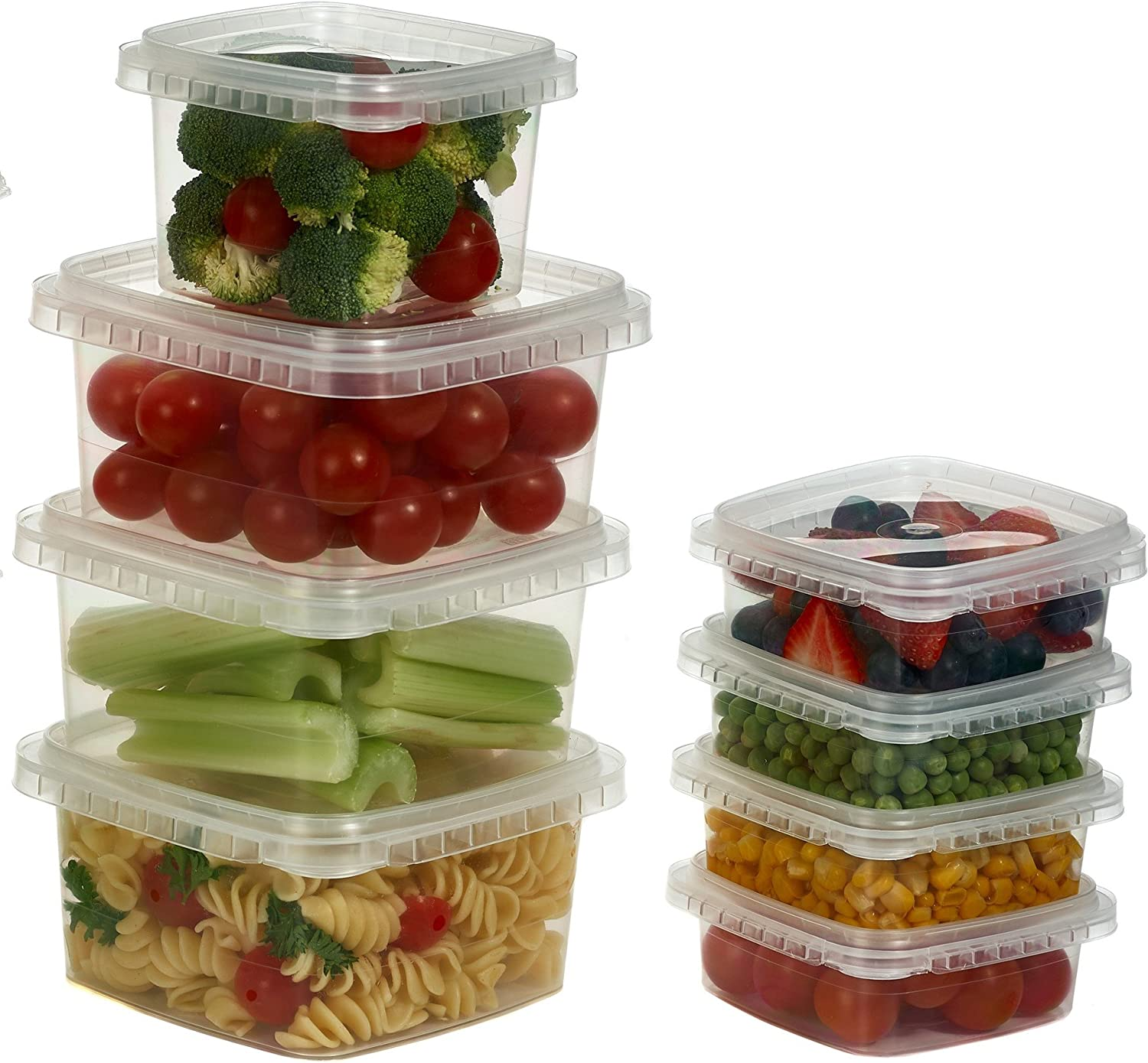 32 oz. Clear Deli Food Storage Containers With Lids Tamper evident system easy stackable mise en place and space saver shape Restaurant Take Out/Freezer microwave and dishwasher safe - 25 sets