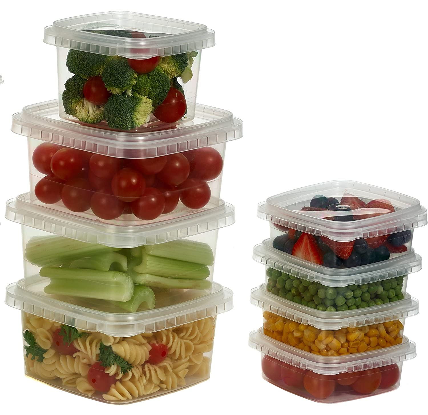 8 oz. Clear Deli Food Storage Containers With Lids Tamper evident security system and easy stackable and space saver shape Restaurant Take Out/Freezer microwave and dishwasher safe - 25 sets