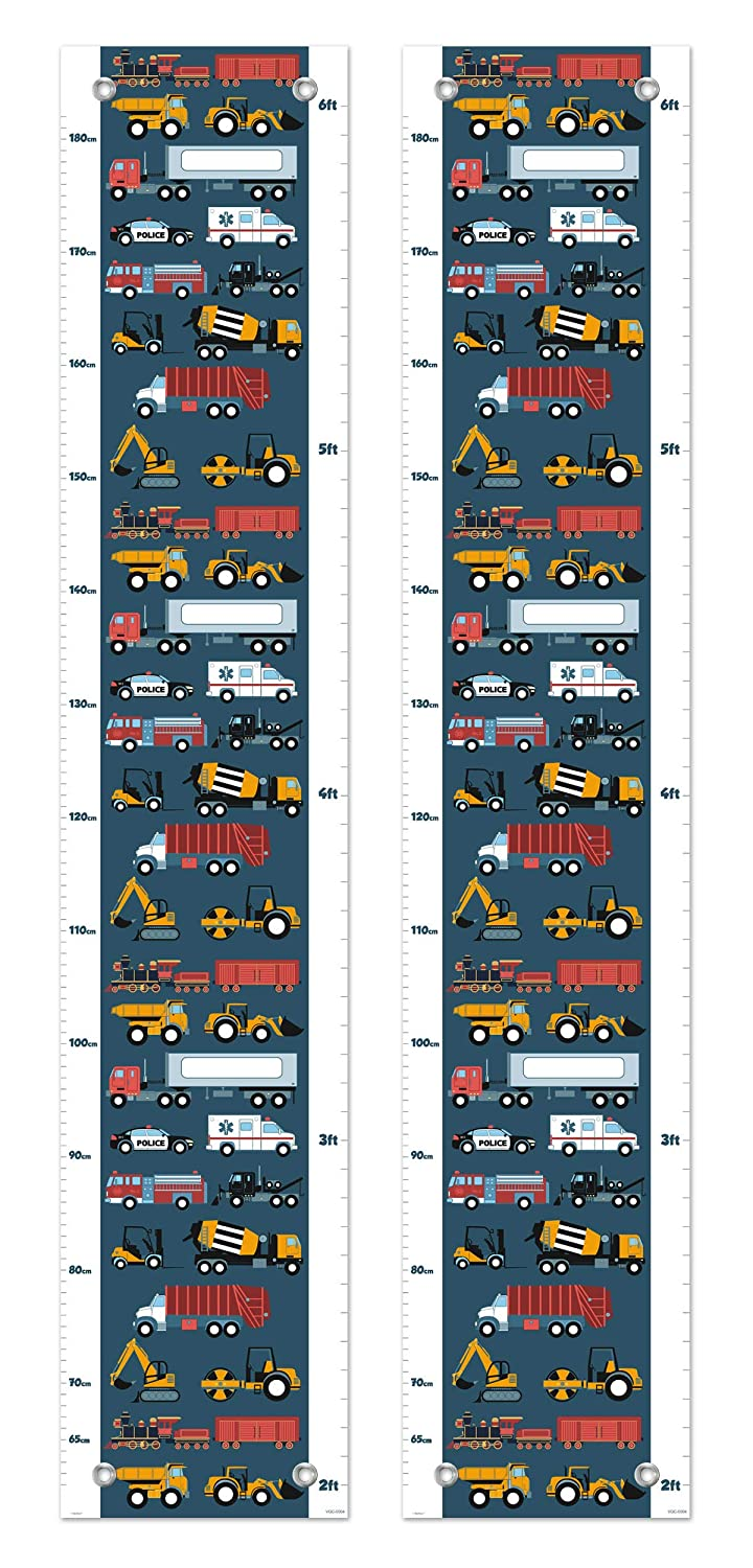 Kid Room Decor Firetruck Police Car Truck and Train Growth Chart for Kids Measurement Growth Chart