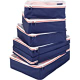 mDesign Versatile Travel Storage Organizer Cubes - Mesh Tops, Integrated Handles and Two-Way Zippers: Perfect for Packing Luggage/Suitcase and Carry-On – Set of 5, Navy Blue/White Trim, Orange Zipper