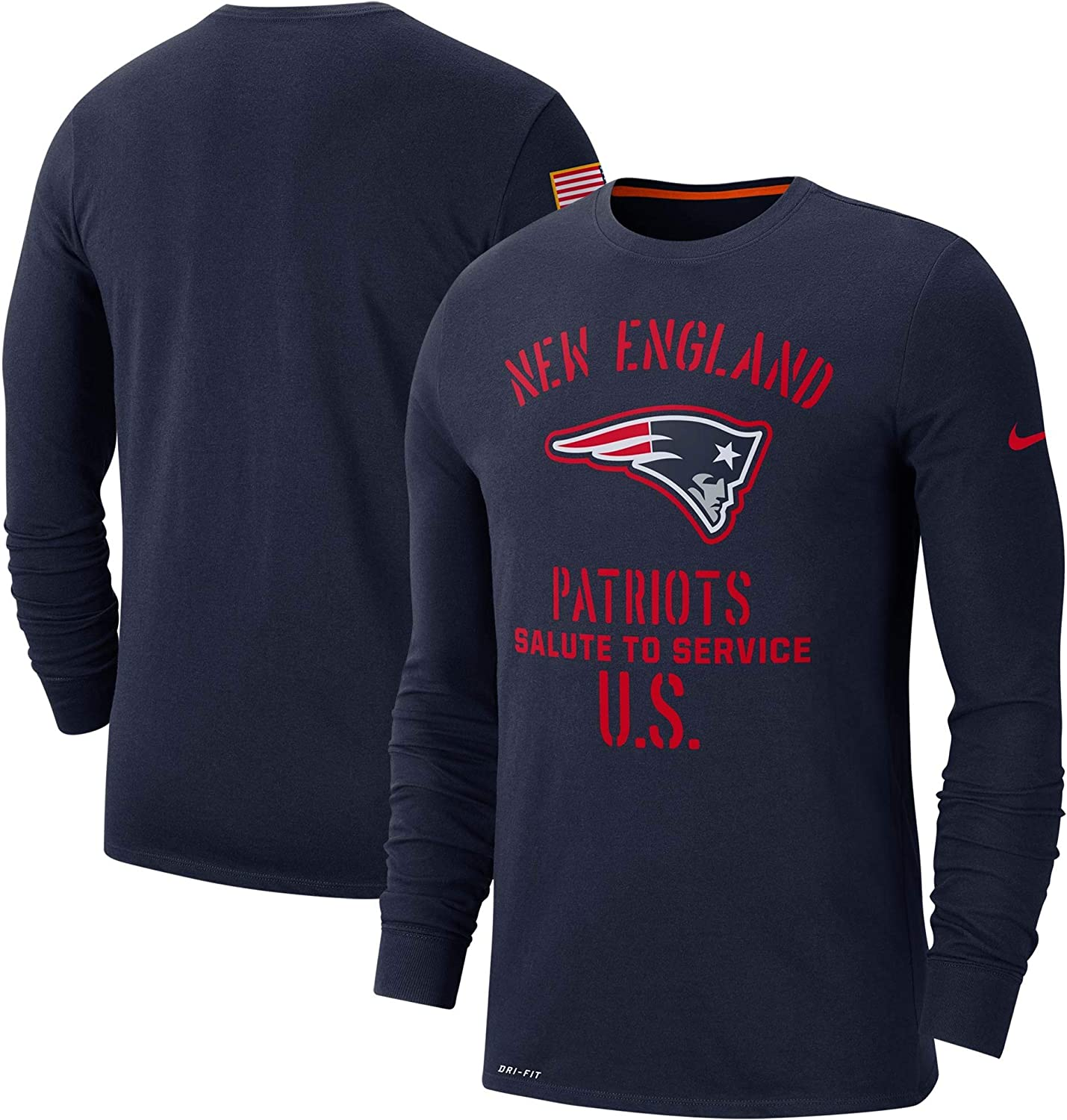 New England Patriots Mens 2019 Salute to Service Long Sleeve Navy Tee