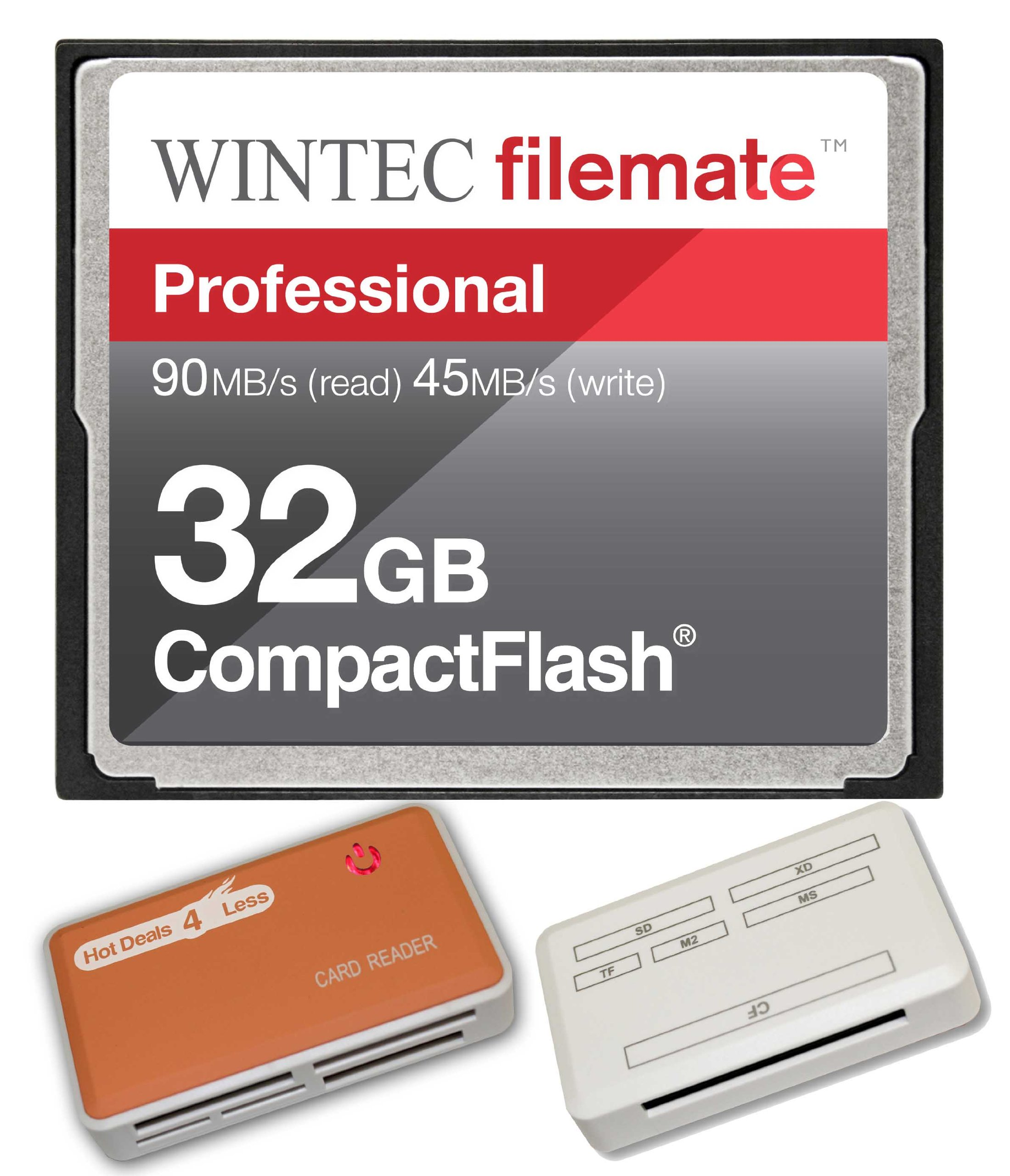 32GB Professional CF Memory Card for Canon EOS 5D Mark II EOS 7D Cameras. Blazing Fast 600X Card with all in one Hot Deals 4 Less Card Reader and Life Time Warranty. by WintecIndustries