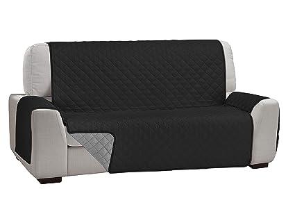 Martina Home Martina Dual Cover Cubre Sofá Acolchado Reversible, Negro / Gris, 4 Plazas