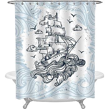MitoVilla Retro Sailboat Between Big Waves Sailing Shower Curtain Unique Cool Nautical Theme Btahroom Decor