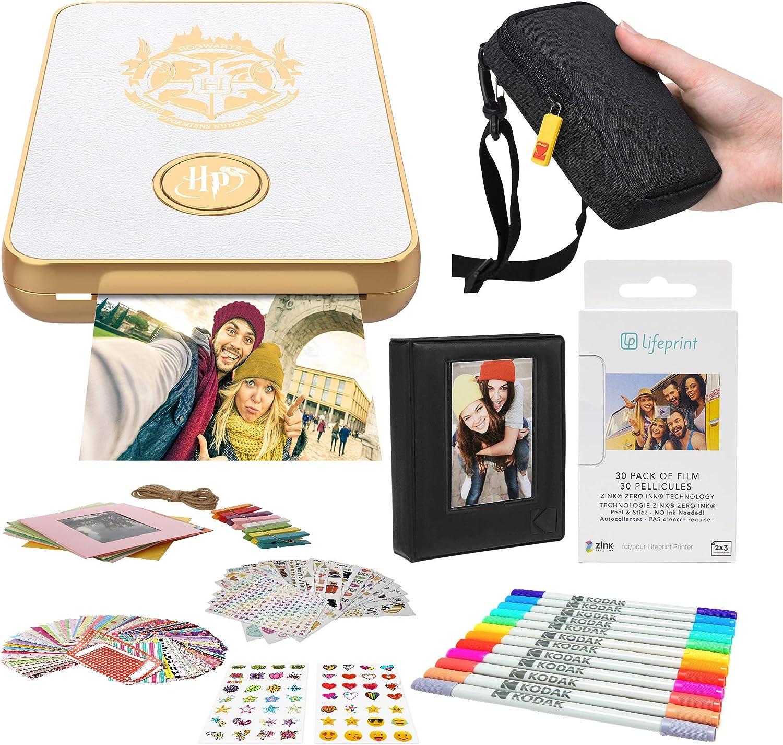 Lifeprint 2x3 Wizarding Magic Photo and Video Printer (White) Stickers Bundle