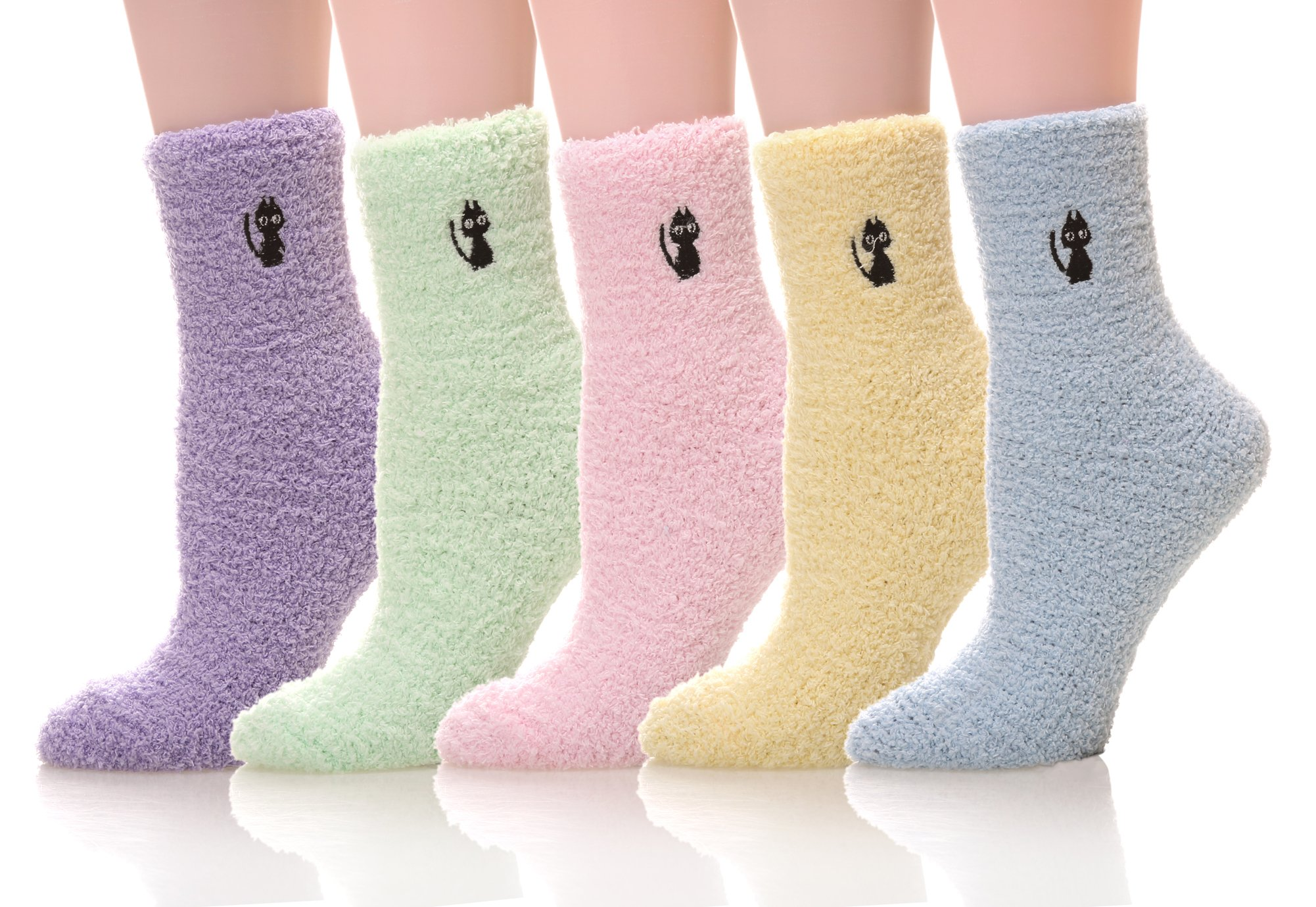 5 pairs Women's Super Soft Cozy Fuzzy Slipper Socks Microfiber Winter Warm Crew Home Socks