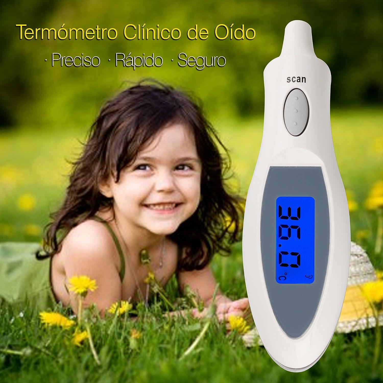 Termómetro Digital para Bebé. Termómetro de Oído para Bebé con Infrarrojos de Alta Precisión. Termómetro Láser para Bebé y Adulto. Termómetro para Bebé con ...