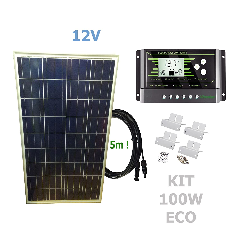 PV Solar Panel 100 W 12 V Kit ECO 100w 12v VIASOLAR