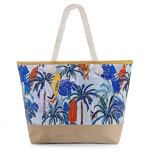 Joeyer Bolsa de Playa de Lona, Verano Bolsa de Playa Grande con Cremallera de Viaje