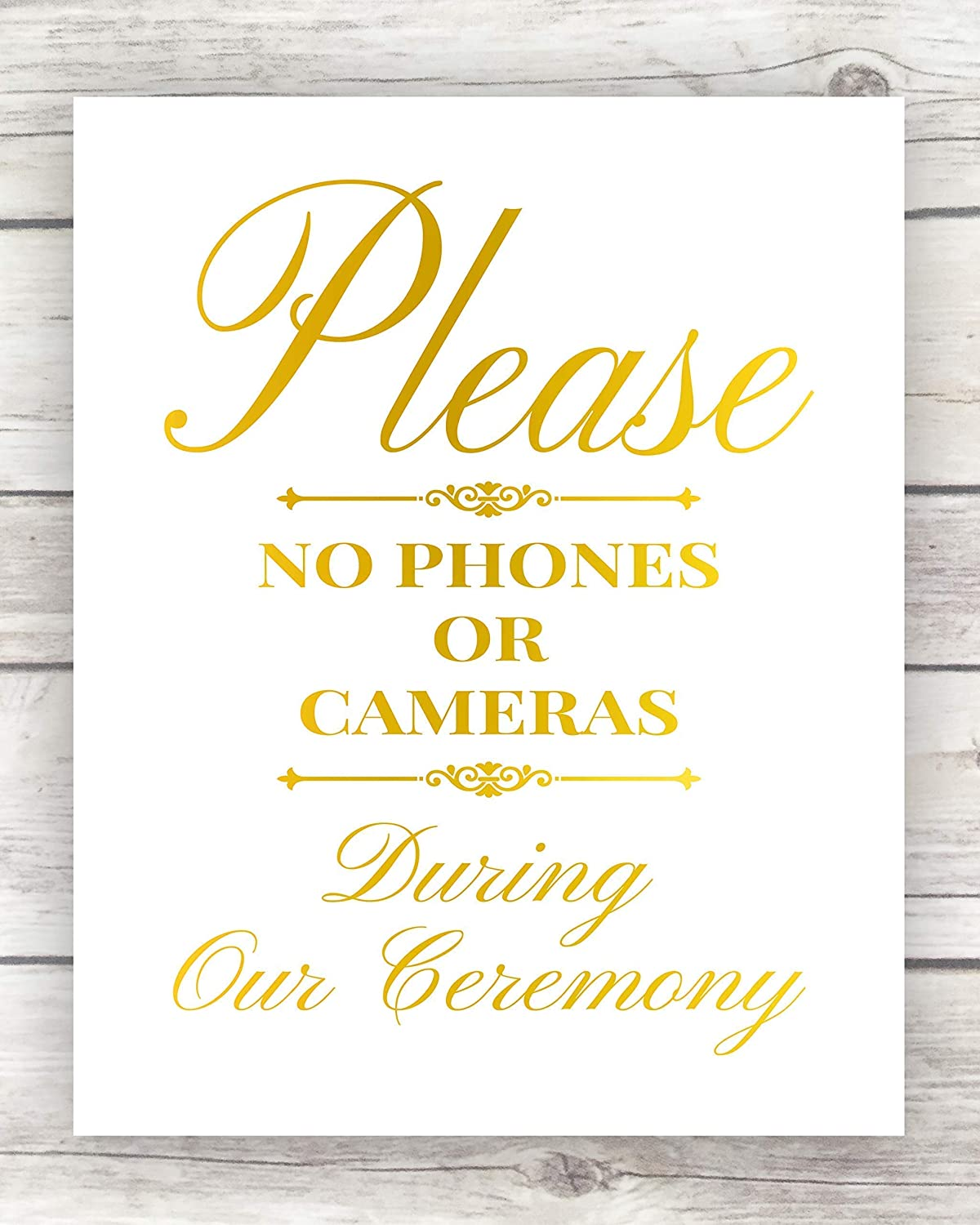 Art Prints Unplugged ceremony sign // Wedding ceremony // Ceremony signage // Gold foil //