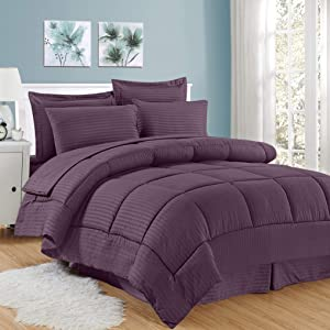 Sweet Home Collection 8 Piece Comforter Set Bag Stripe Design, Bed Sheets, 2 Pillowcases, 2 Shams Down Alternative All Season Warmth, Queen, Dobby Purple