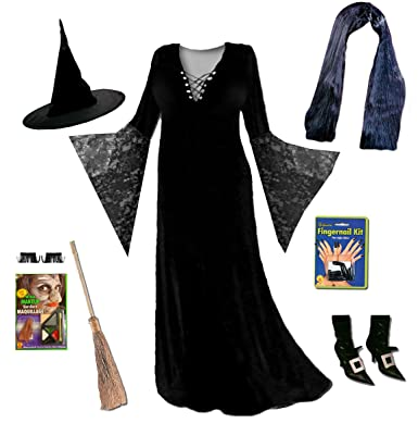 5d0bbda3279 Sanctuarie Black Witch Plus Size Supersize Halloween Costume Lace Deluxe  Kit w/Wig