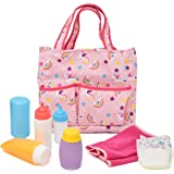 Baby Doll Diaper Bag with Accessories, Doll Care Kit Changing Set Includes Bottles, Diaper, Baby Lotion, Powder and Blanket