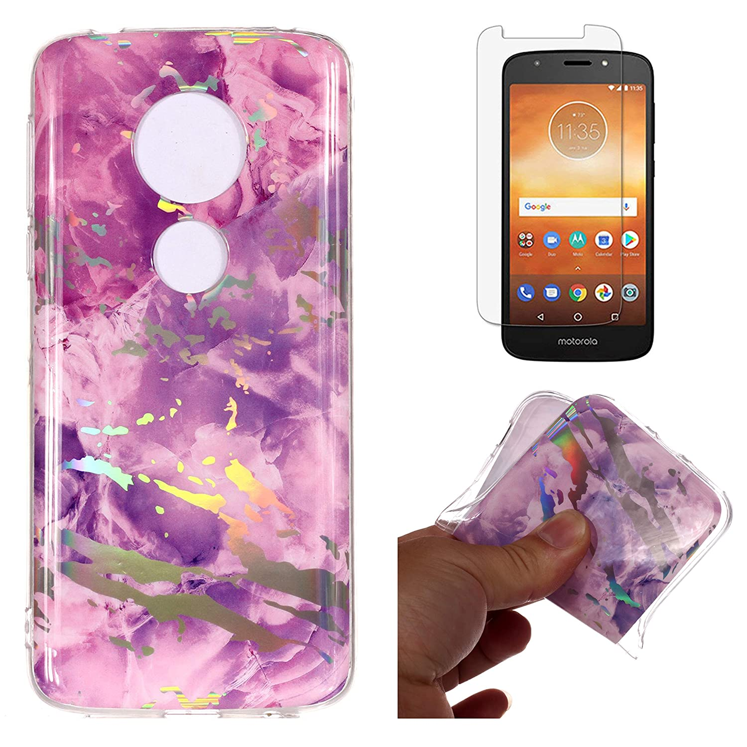For Moto E5 Play Marble Case and Screen Protector , OYIME Luxury Colorful Plating Pattern Skin Design Clear Silicone Rubber Slim Fit Ultra Thin Protective Back Cover Glossy Soft Gel TPU Shell Shockproof Drop Protection Transparent Bumper Case for Motorola