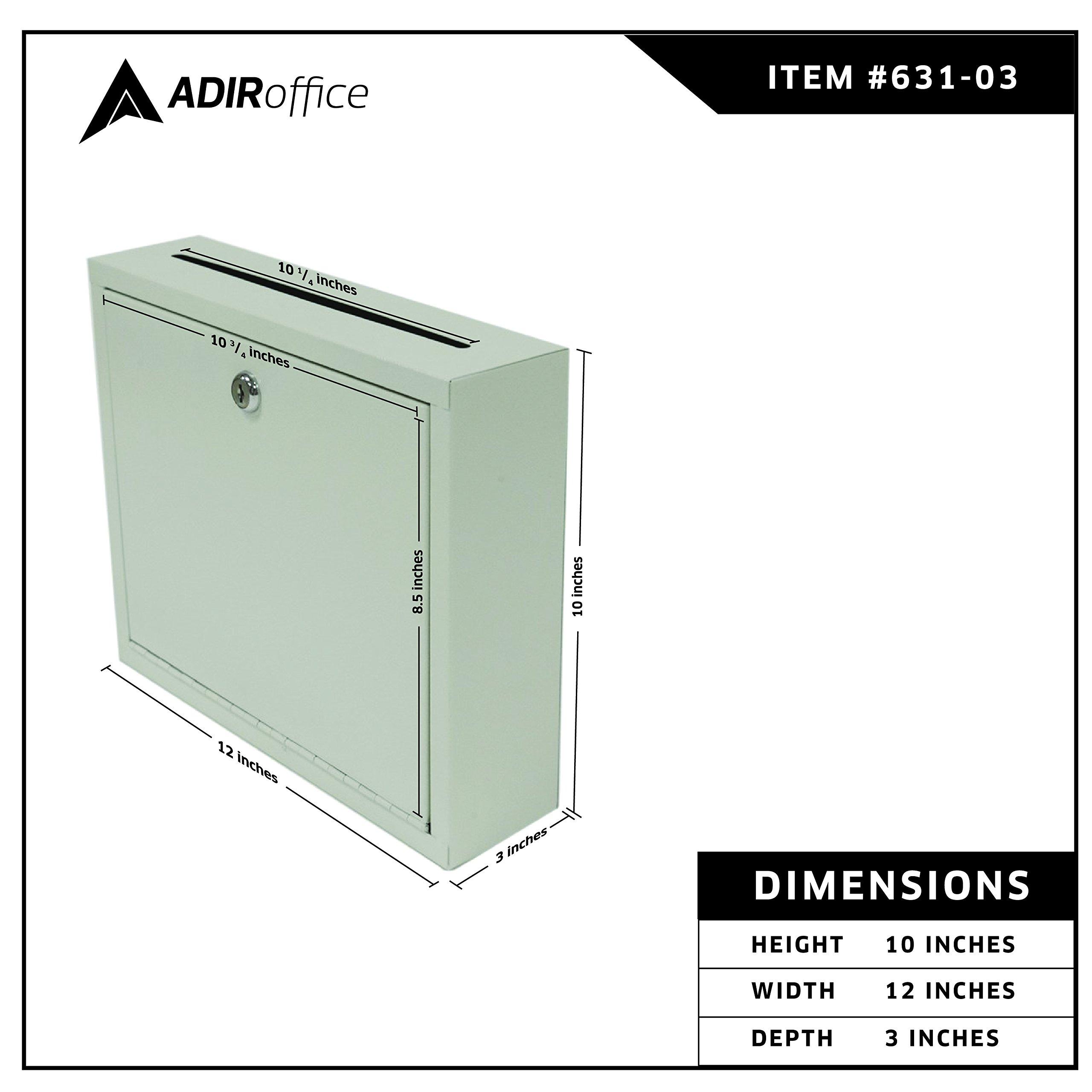 AdirOffice Multi Purpose, Mail Box, Drop Box, Suggestion Box, Wall Mountable, 3'' x 10'' x 12'' - Sand Beige by Adir Corp. (Image #3)