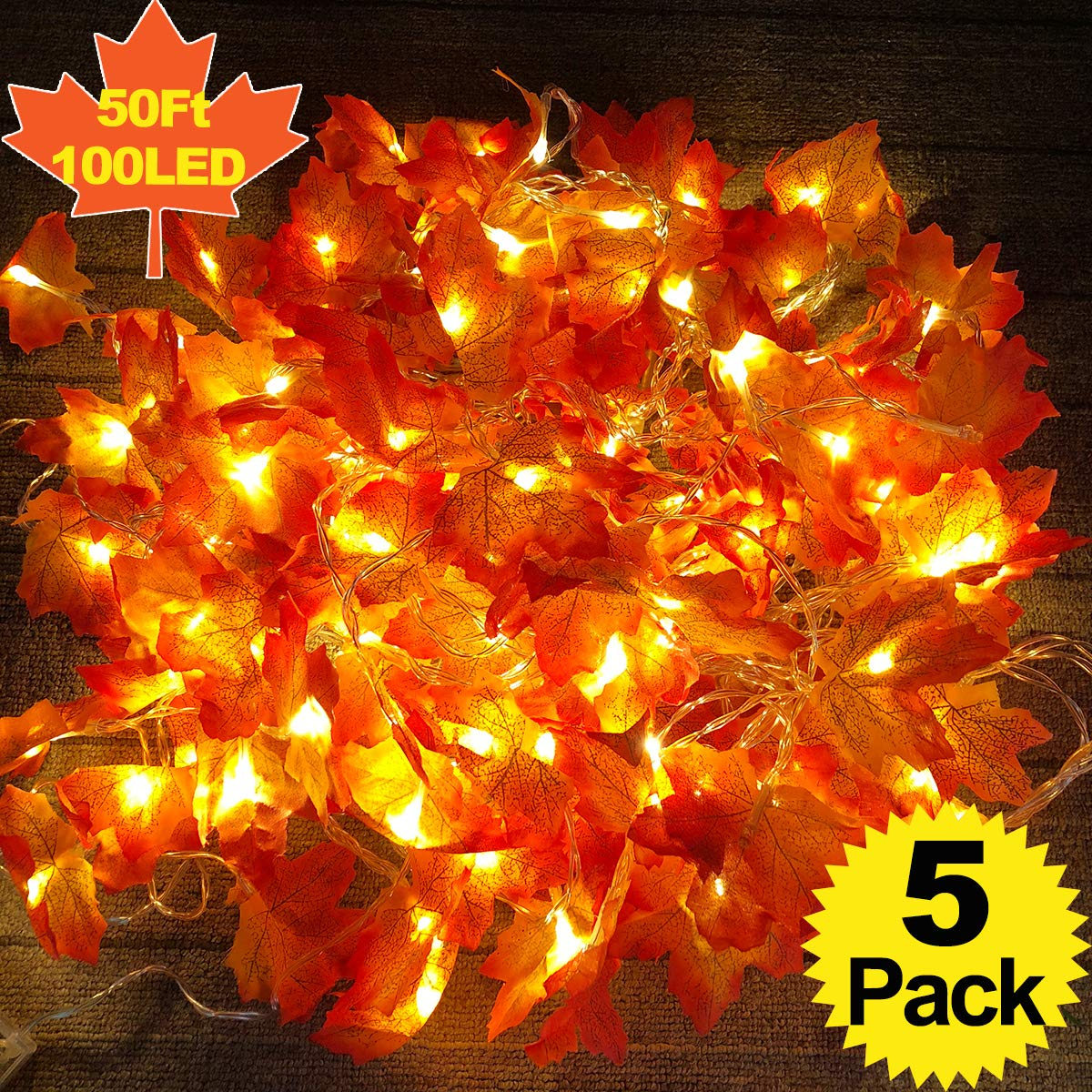 5 Pack Maple Leaves Garland String Lights,Thanksgiving Decorations Fall String Lights with 50 Ft/100 LED Maple Leaves for Indoor Outdoor Autumn Harvest Party Festival Home Patio Thanksgiving Decor