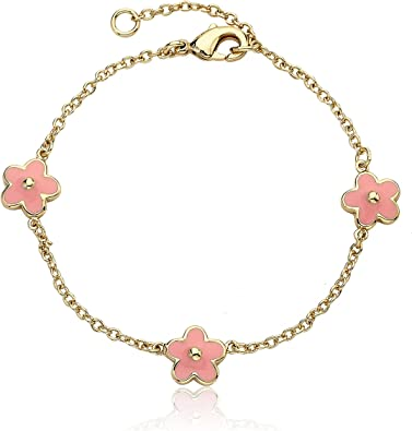 Little Miss Twin Stars Girls Frosted Flowers 14k Gold-Plated and Enamel Flowers Charm Bracelet