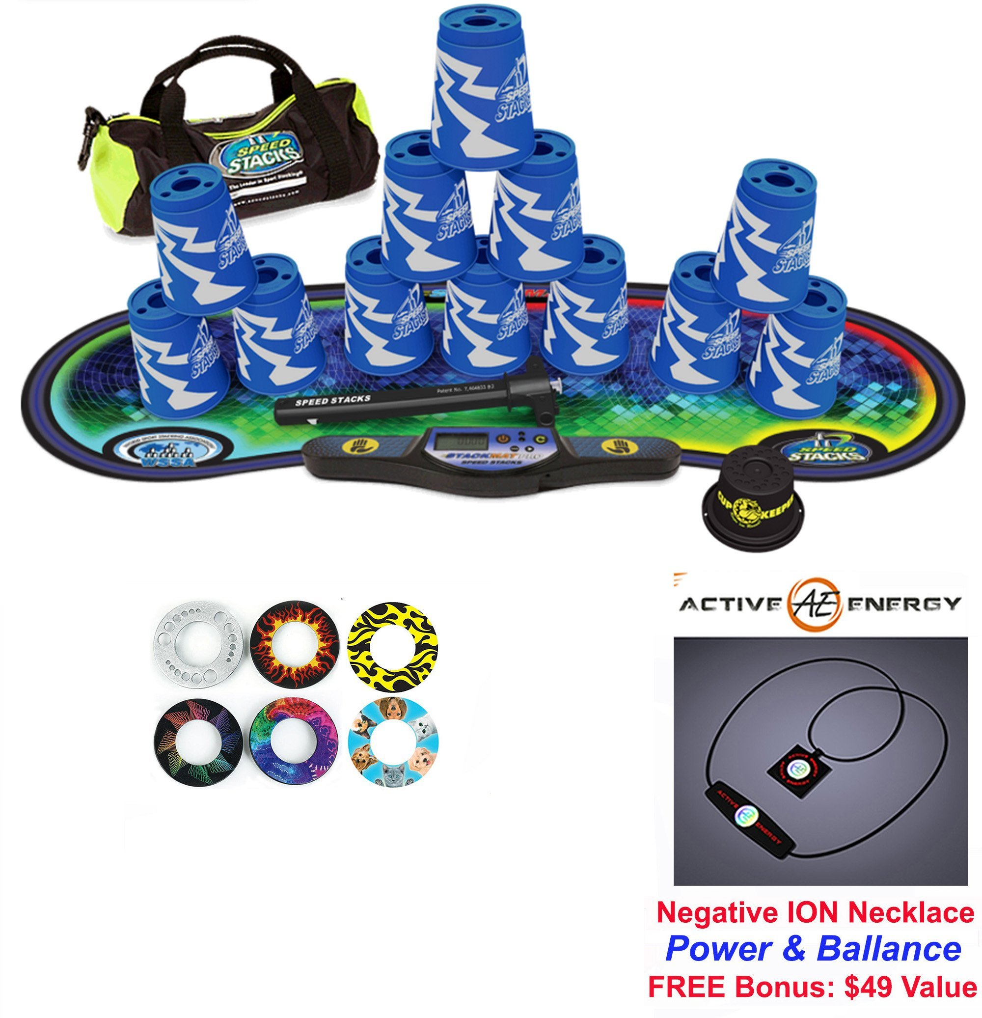 Speed Stacks Custom Combo Set - The Works: 12 ATOMIC PUNCH 4'' Cups, Cup Keeper, Quick Release Stem, Pro Timer, Gen 3 Premium VOXEL GLOW Mat, 6 Snap Tops, Gear Bag + FREE: Active Energy Necklace $49