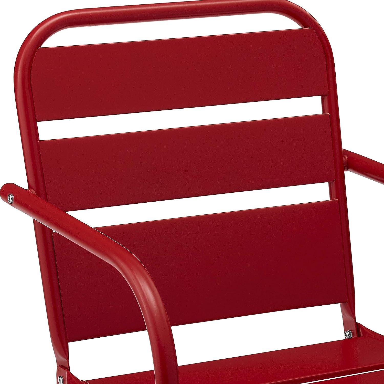 Crosley Furniture CO1030-RE Brighton Retro Metal Chair, Set of 2, Red : Garden & Outdoor