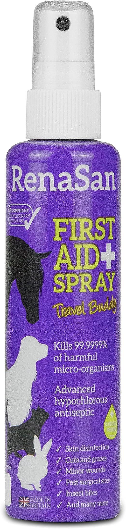 RenaSan Spray de Primeros Auxilios 250ml - para Todos los Animales, Perros, Gatos, Mascotas pequeñas, Caballos, Reptiles, Aves de Corral y Aves: Amazon.es: Productos para mascotas
