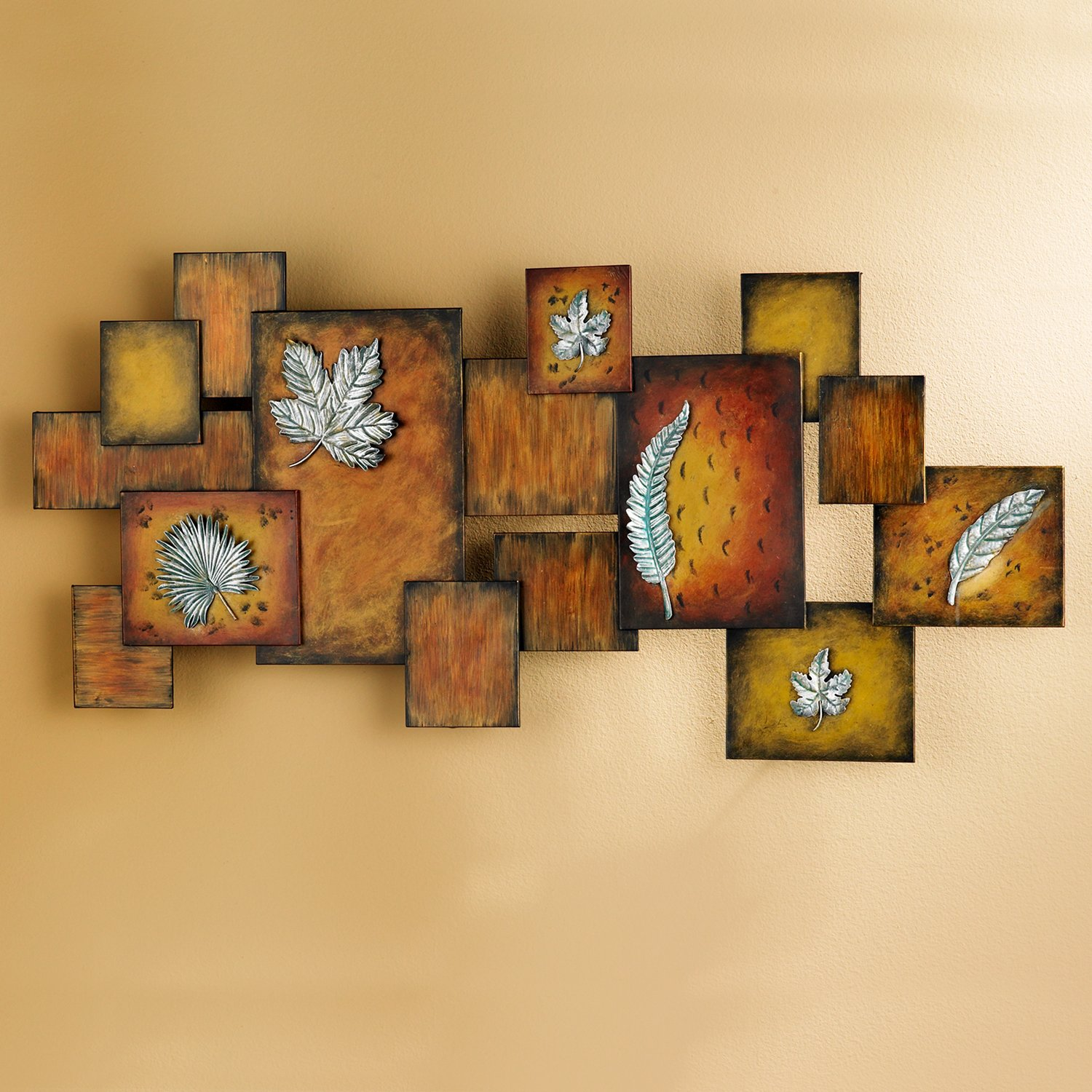 Amazon Metal Leaves Abstract Wall Art Panel Home & Kitchen