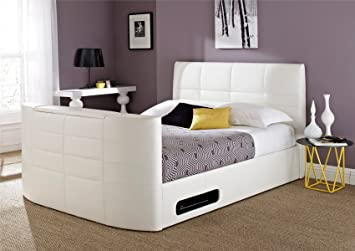 York Leather White Tv Bed King Size Tv Bed Amazon Co Uk Kitchen