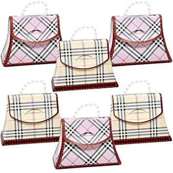 2fbc992edb 30 Plaid Favor Bag Purse Boxes Craft Kit Pink and Beige Colors Guest Candy  Goodie Treat