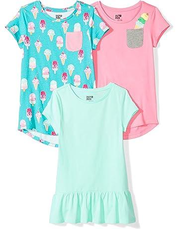 9d738ea5c Amazon Brand - Spotted Zebra Girls' Toddler & Kids 3-Pack Short-Sleeve