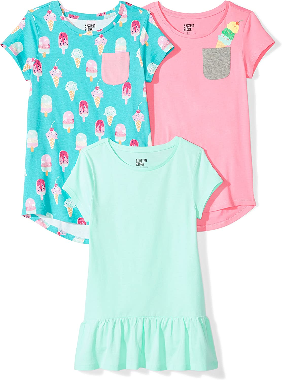 Marke Spotted Zebra M/ädchen T-Shirt 3-pack Short-sleeve Tunic Tops