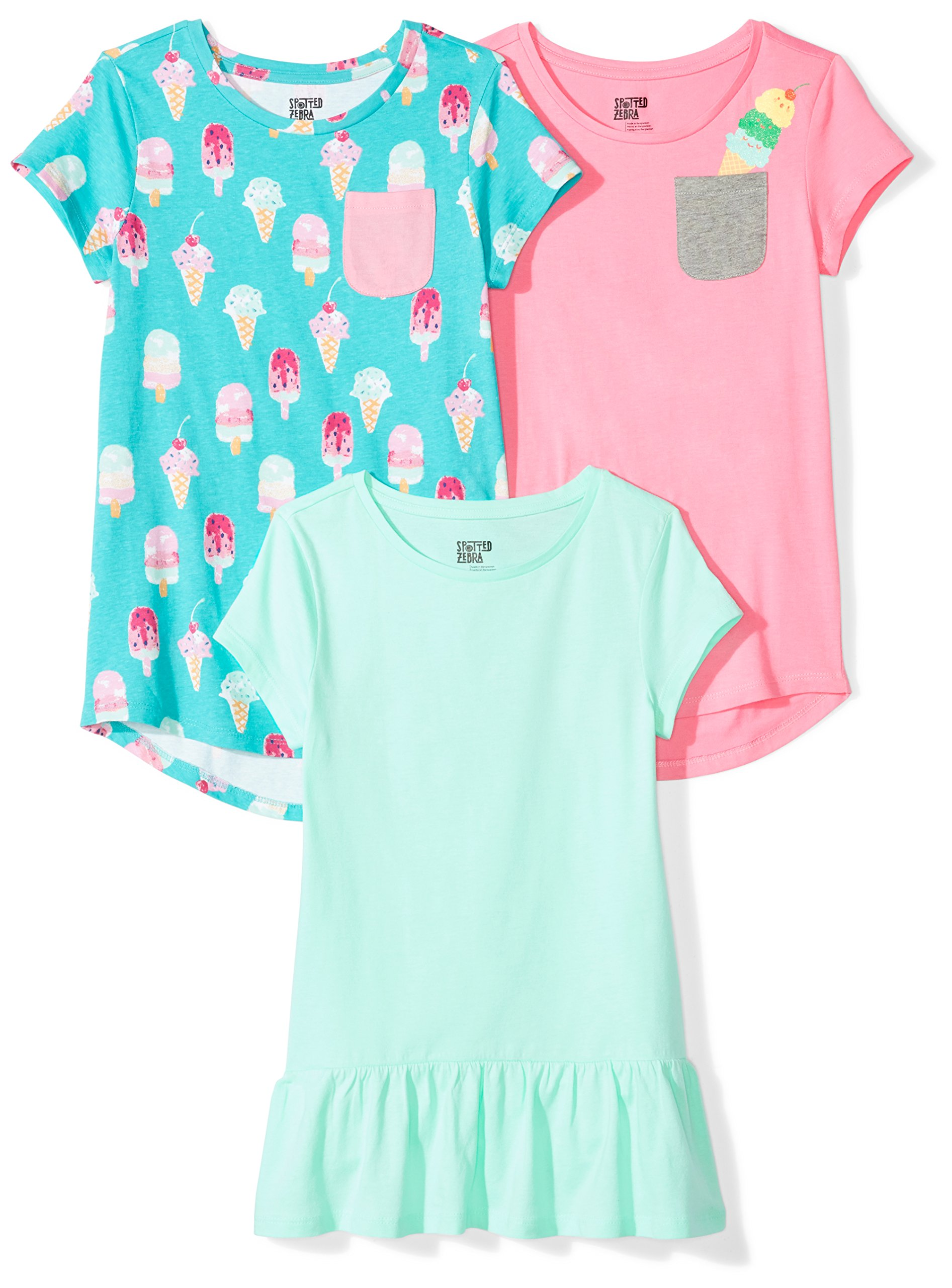 Spotted Zebra Little Girls' 3-Pack Short-Sleeve Tunic Tops, Sweets, Small (6-7)