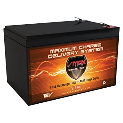 """VMAXTANKS VMAXMB64 12 Volt 15Ah AGM Deep Cycle Battery Replacement Upgrade for Badsey EMX Cruiser Electric Scooter 12V Scooter Battery (L=5.94"""" W=3.86"""" H=3.74""""): Automotive"""
