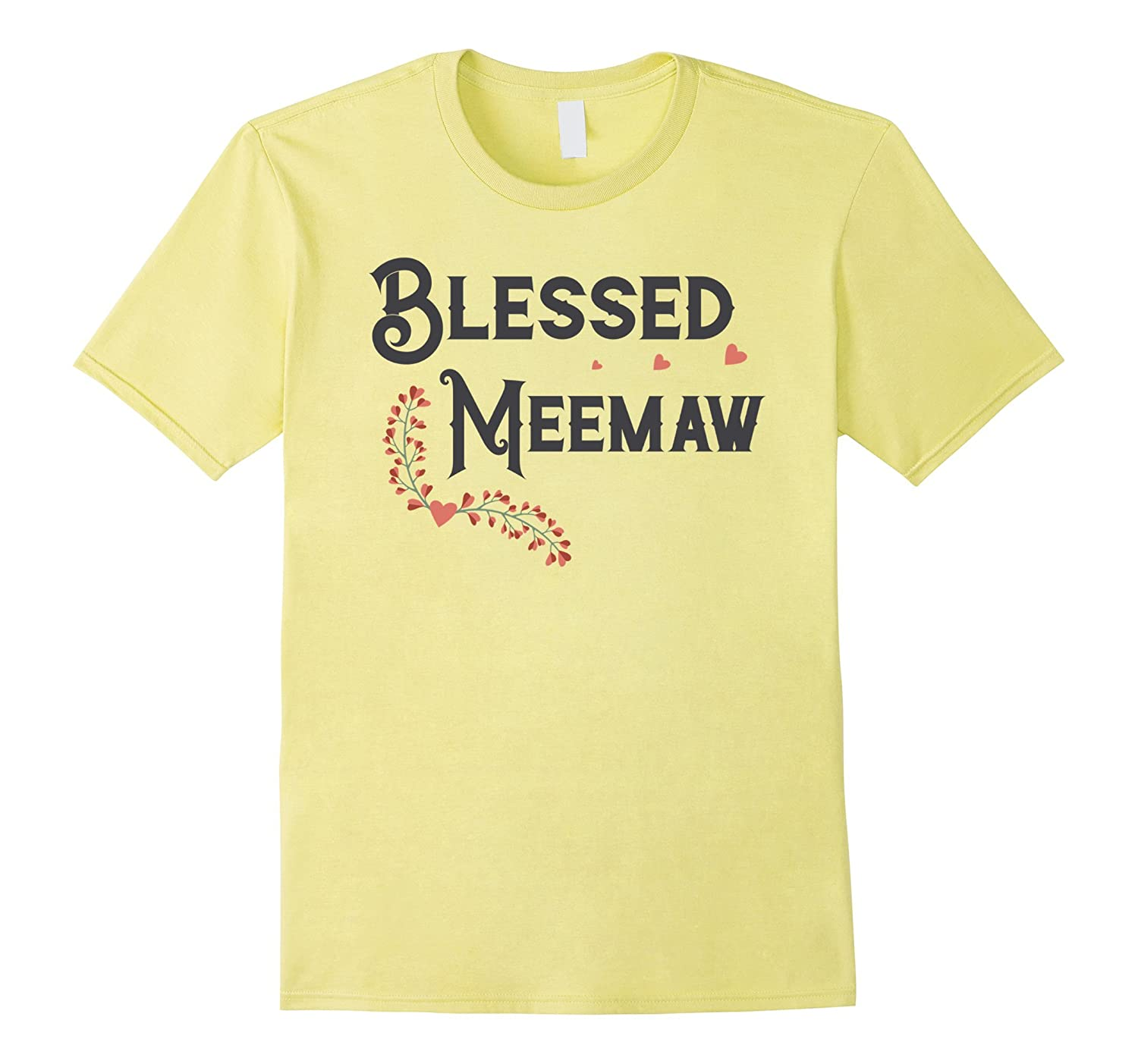 Blessed Meemaw Tee with Hearts and Flowers – Light Shirts