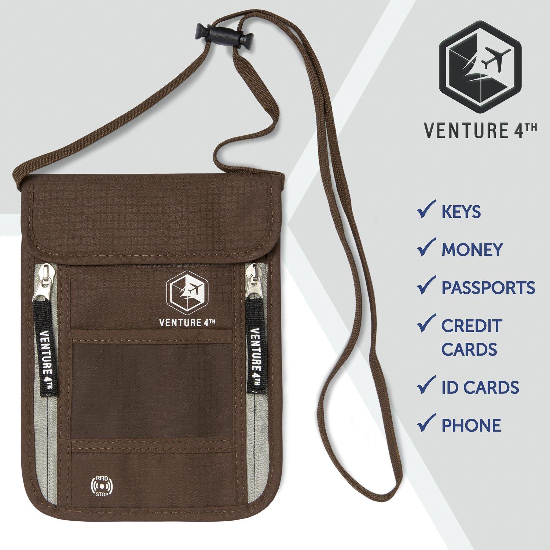 Venture 4th Passport Holder Neck Pouch With RFID – Safety Passport Pouch (Brown) by VENTURE 4TH (Image #8)