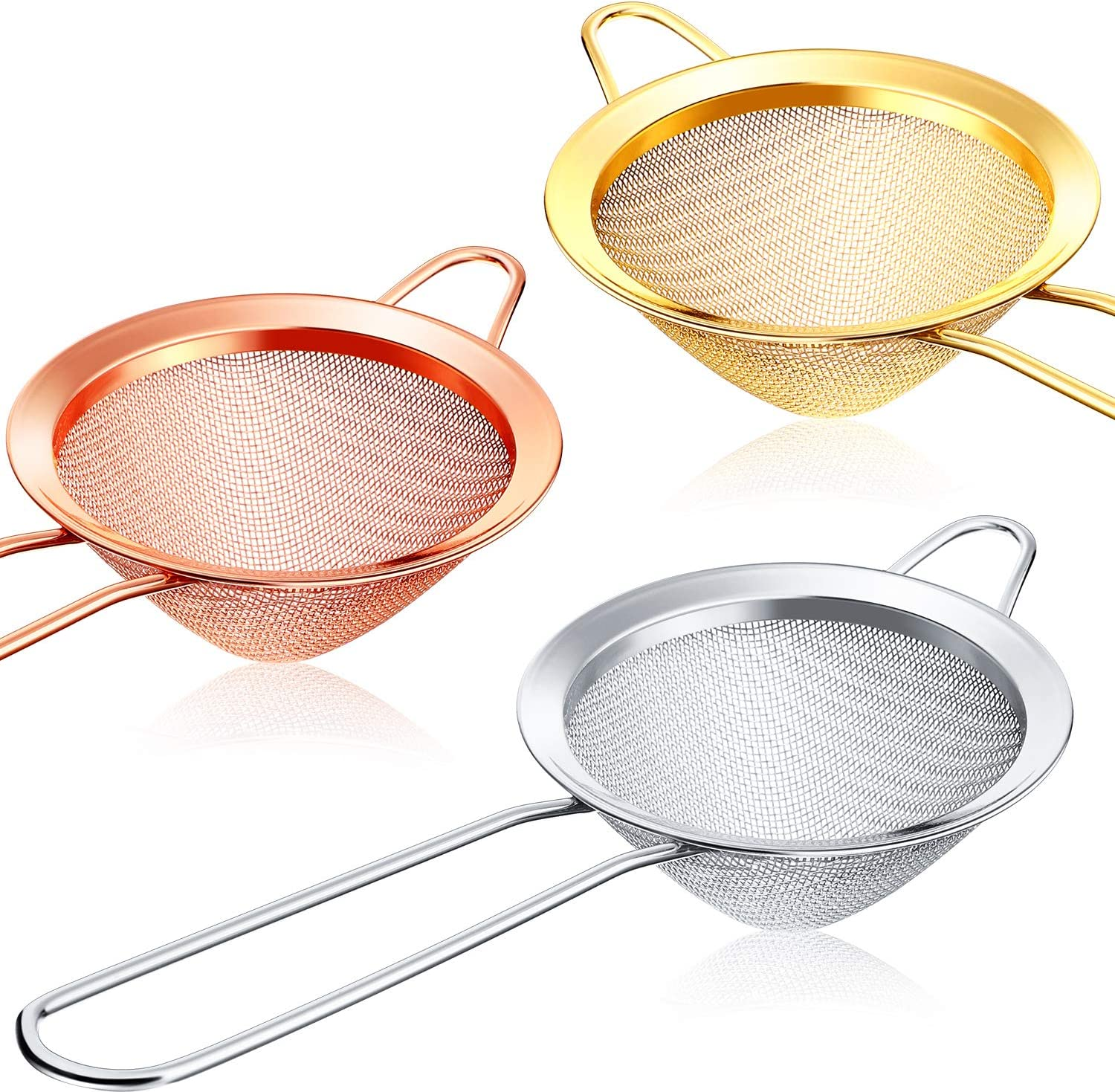 3 Pieces Cocktail Strainer Stainless Steel Tea Strainers Conical Food Strainers Fine Mesh Strainer Practical Bar Strainer Tool (3.3 Inches, Silver, Gold, Rose Gold)