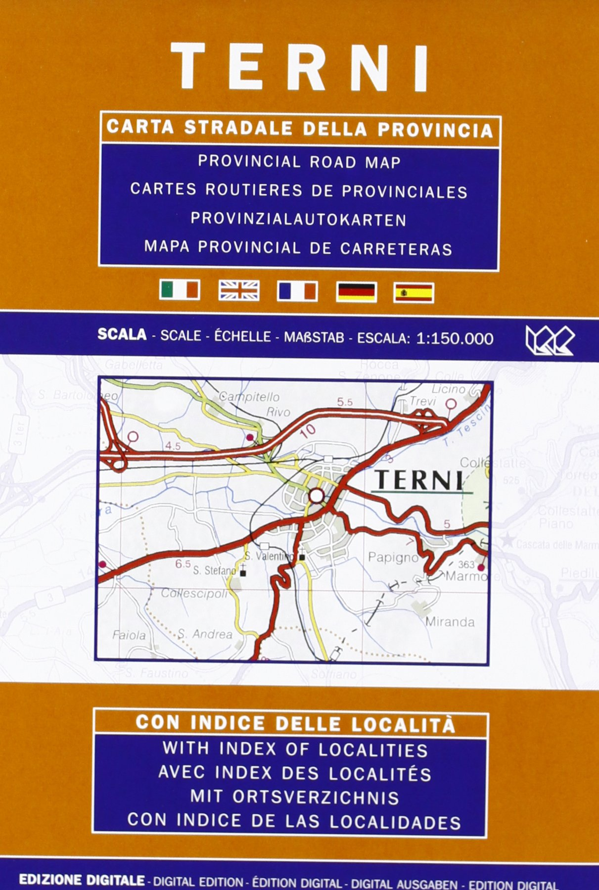 Provincial Map Of Italy.Terni Umbria Italy Provincial Road Map Italian German