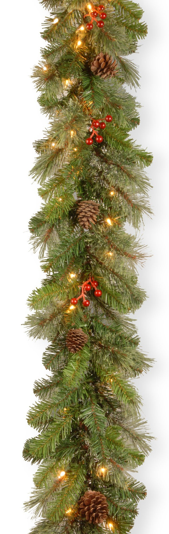 National Tree 9 Foot by 12 Inch Cashmere Berry Collection Garland with 11 Cones, 11 Red Berries and 70 Clear Lights (CB4-300-9B-1)