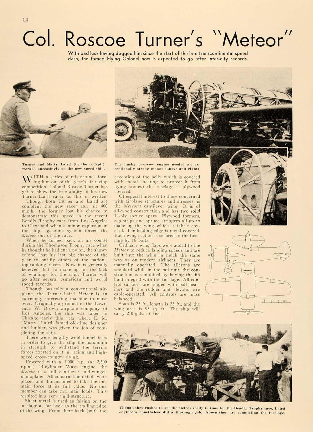 1937 Colonel Roscoe Turner Meteor Plane Bendix Trophy - Original ...