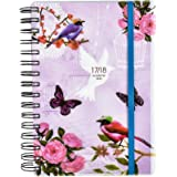 2017-2018 diary One Day to Page A5 Spiral Mid Year Student/Teacher Diary With Full Page of Saturday & Sunday by Arpan (Vintage birds)