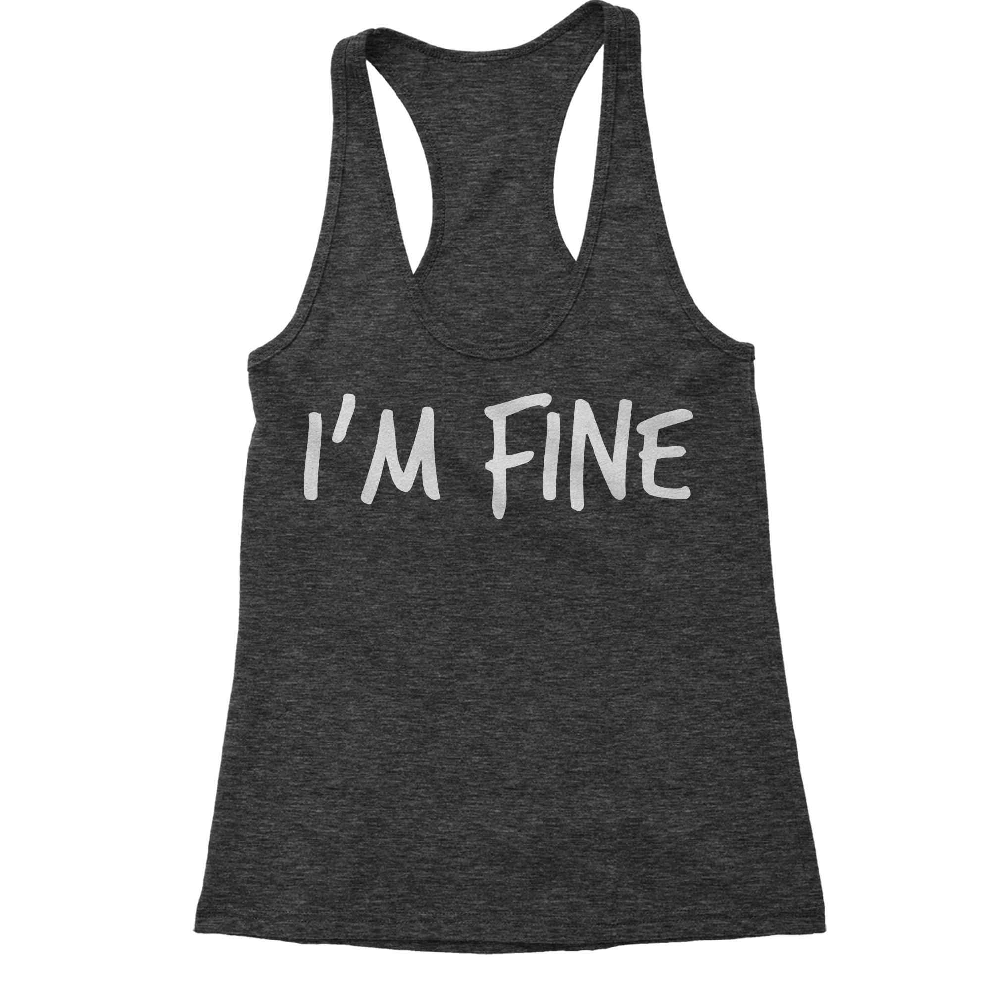 Expression Tees Racerback I'm Fine Small Charcoal Grey Ladies Tank Top