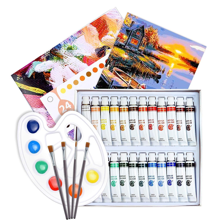ATMOKO Zestaw farb akrylowych, 29 sztuk, 24 farby akrylowe