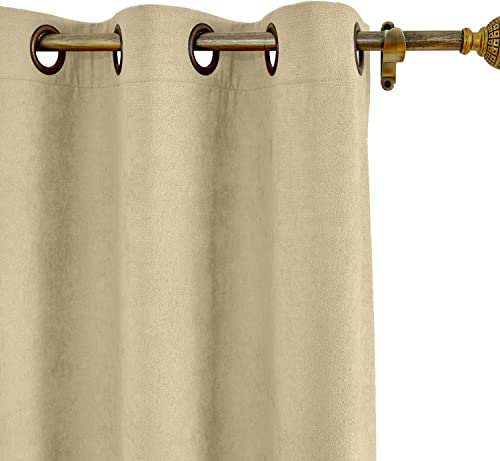 ChadMade Extra Long and Wide Thermal Curtains 100 W x 102 L Polyester Cotton Drapery with Blackout Lining Antique Bronze Grommet Drapery Burlywood 1 Panel , Kante Collection