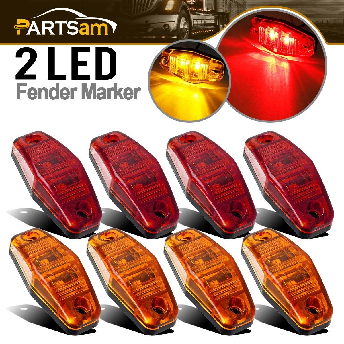 Partsam Universal Red/Amber Surface Mount LED Side Fender Marker Lights, Sealed Mini LED Side Marker Clearance Identification Lights, 2 Wire, 2 Diodes, 2.54'' x 1.06'' (Pack of 8)