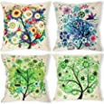 laime Throw Pillow Covers Decorative Pillowcases 18x18inch (4 Pieces Set) Pillow Cases Home Car Decorative (Colorful Tree)