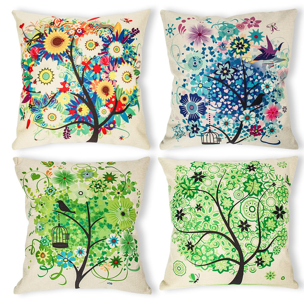 Water Lotus laime Throw Pillow Covers Decorative Pillowcases 18x18inch Flower Pillow Cases Home Car Decorative 4 Pieces Set
